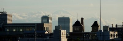 Mount Fuji, unusually visible from Tokyo in summer